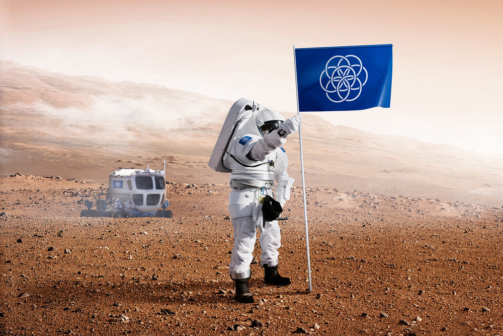 Flag of Earth on a future mission to Mars