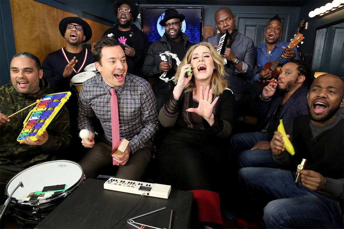 """Adele and Jimmy Fallon Amazing Classroom Instruments Rendition of """"Hello"""" with The Roots"""