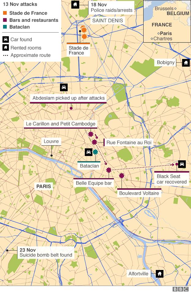 Paris attacks maps